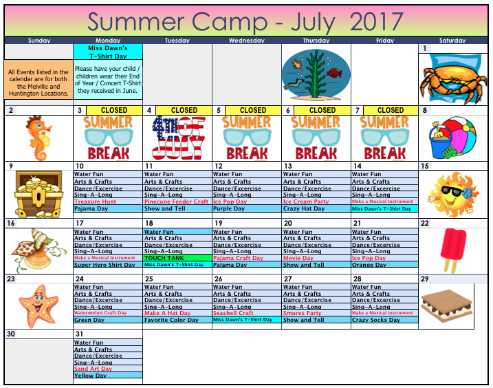 Summer Camp Calendar - July 2017